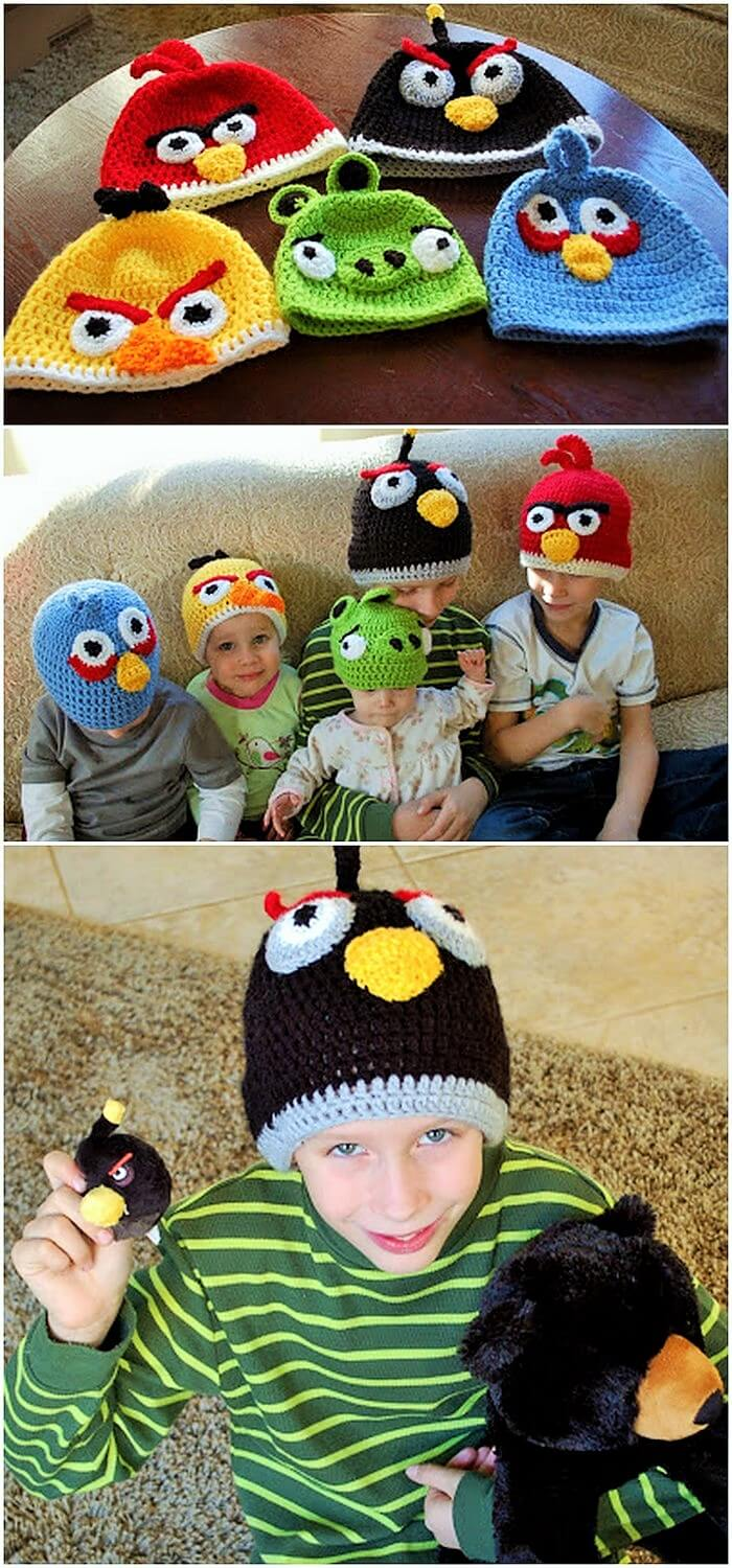 DIY CROCHETED ANGRY BIRDS HATS