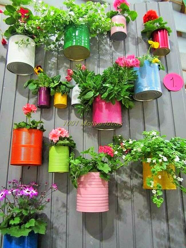 DIY-Recycled cans and little bit paint, so colorful and cute! Great idea for a little herb garden! (2)