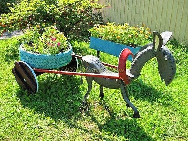DIY-donkey-tire-art-In garden (2)