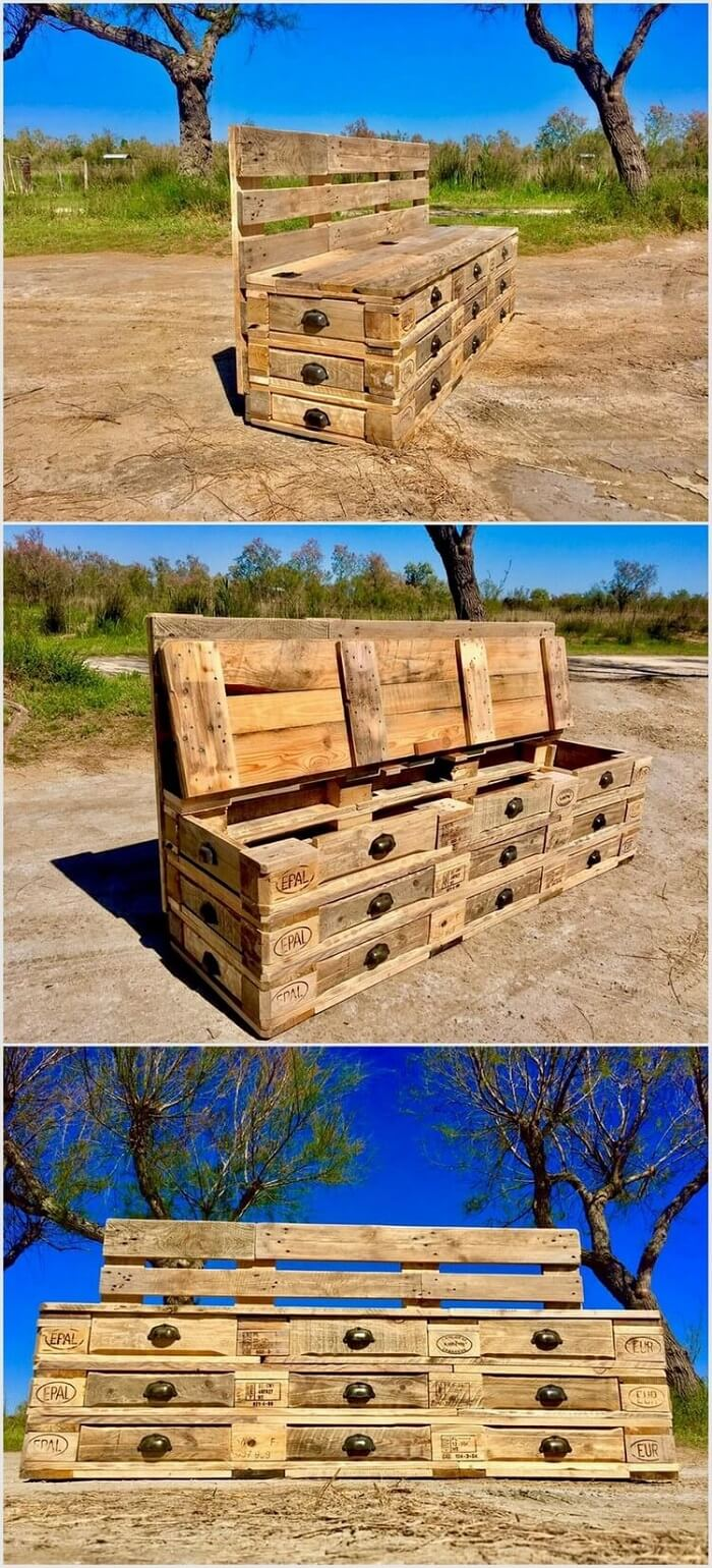 Wood-Pallet-Bench-with-Drawers