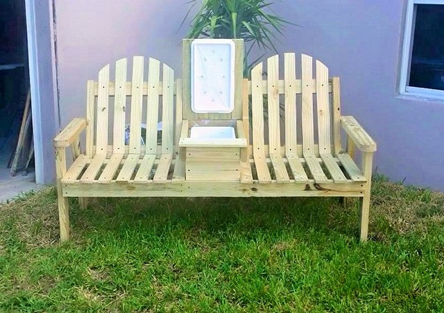 wooden Double Chair Bench with cooler (2)