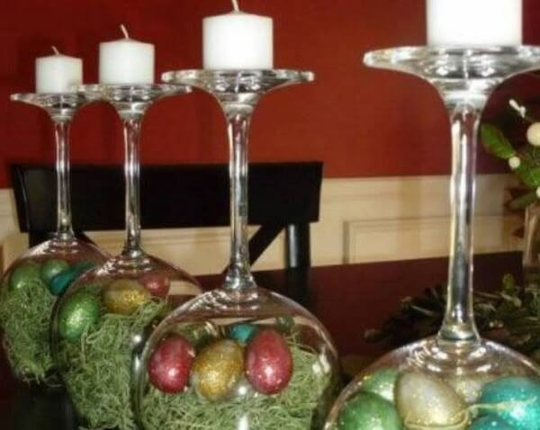 GLASS CANDLE HOLDERS (3)