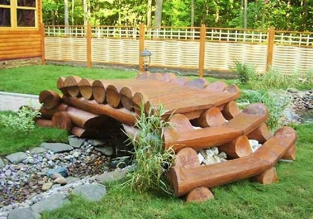 Log-Stepping-Bridge-In-Garden