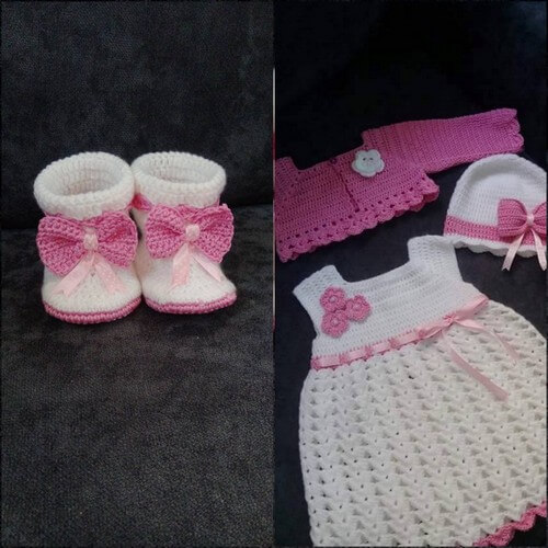 chrochet baby dress set and shoe (2)