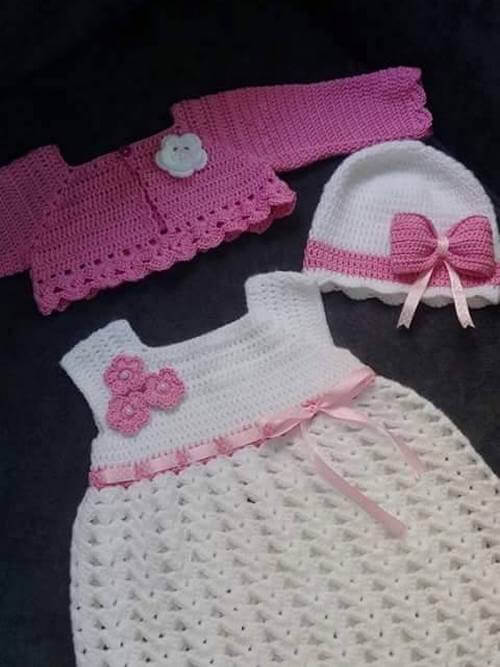 chrochet baby dress set