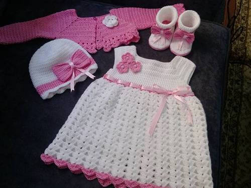 crochet baby dress set and shoe-1