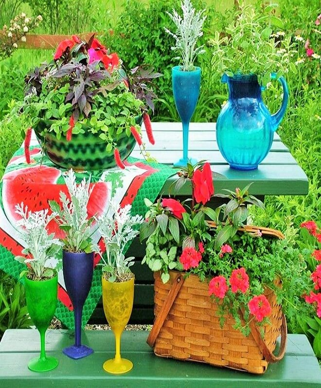 Diy garden decorating ideas with recycling items 1001 for Fun garden decoration ideas