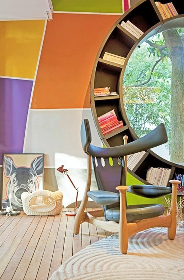 Home Decor Ideas-Circular-bookshelf