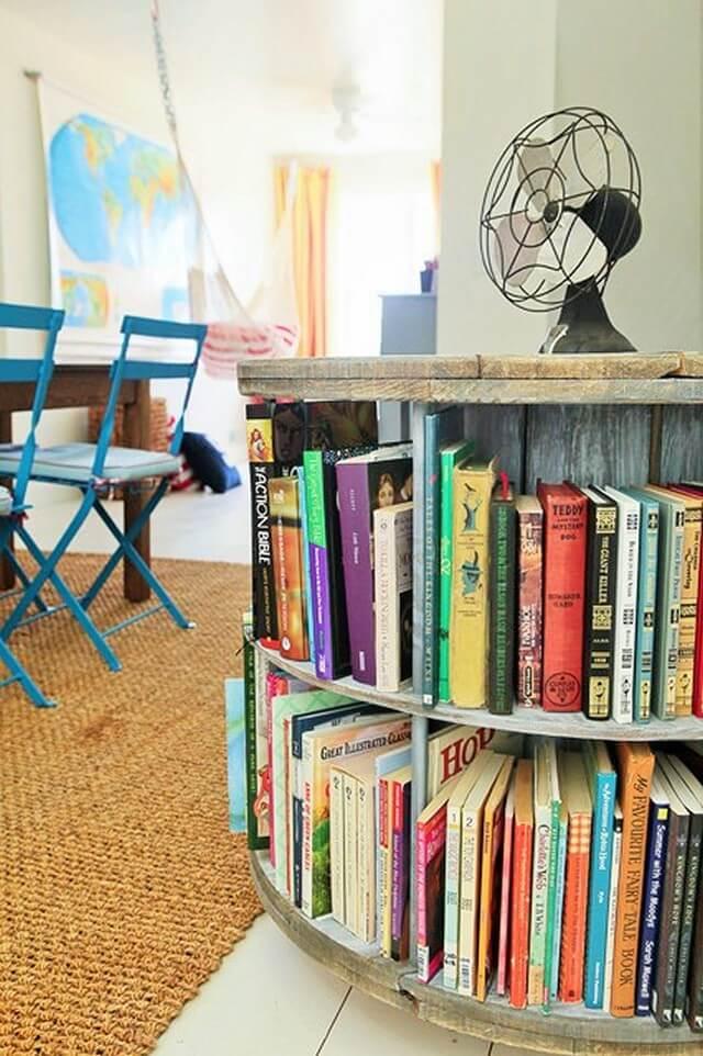 Home Decor Ideas-Revolving-bookcase