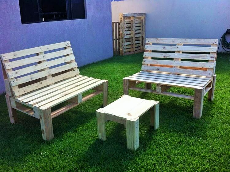 Wooden Pallet-Outdoor-Double-Bench-and-Table (2)