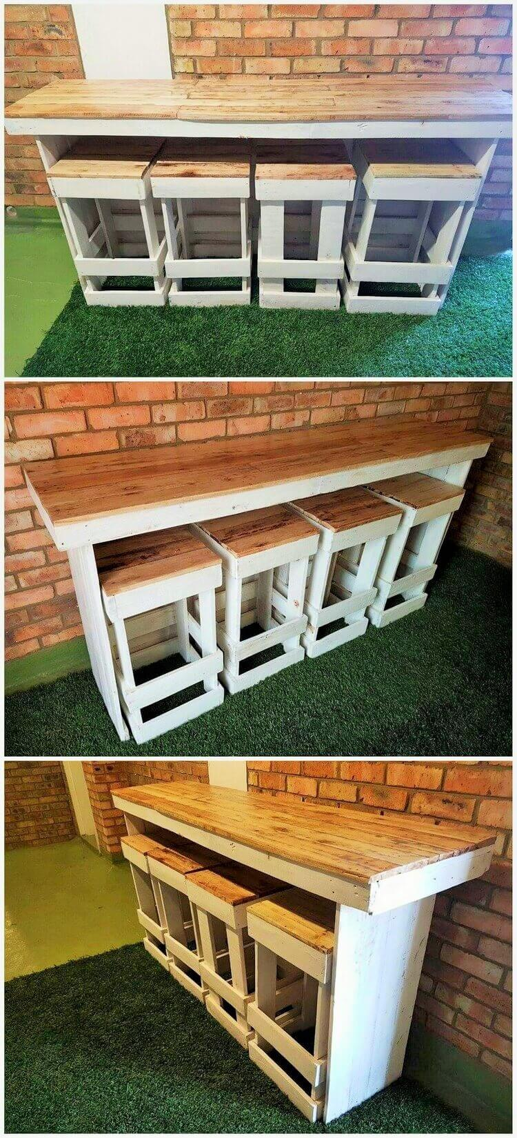 Easy-DIY-Pallet-Bar-Table-with-Stools