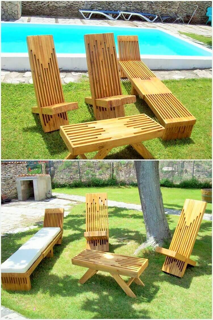 Wooden Pallet-Garden-Sun-Loungers-and-Table (2)
