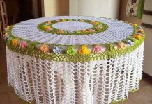 Diy crochet homemade Round dining Table cover