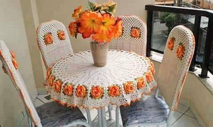 Diy Crochet Homemade Dining Table And Chair Cover 1
