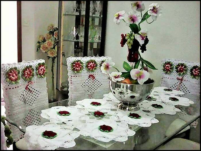Diy crochet homemade dining Table and chair cover