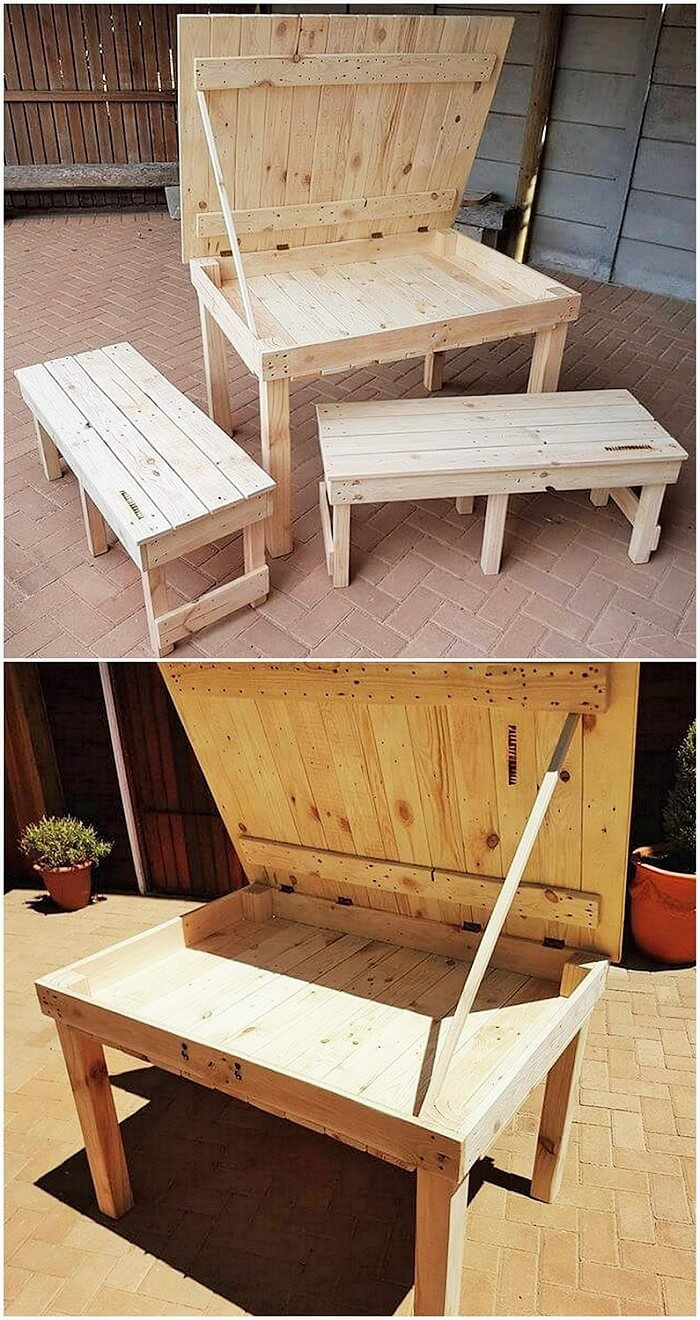 Sylish pallets dining table and banch