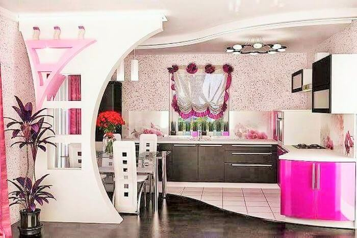 colorful kitchen with drining room