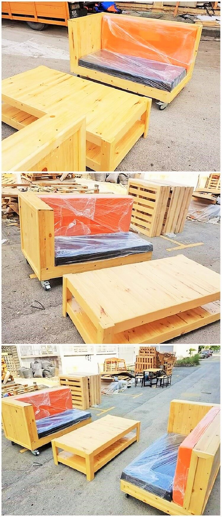 pallet sofa and dining table