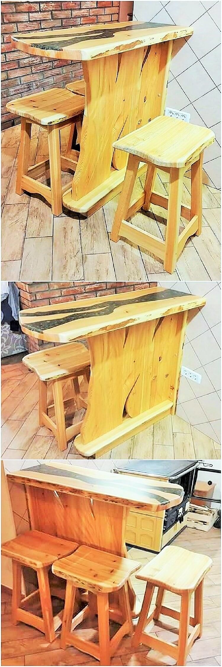 wooden dining banch and table