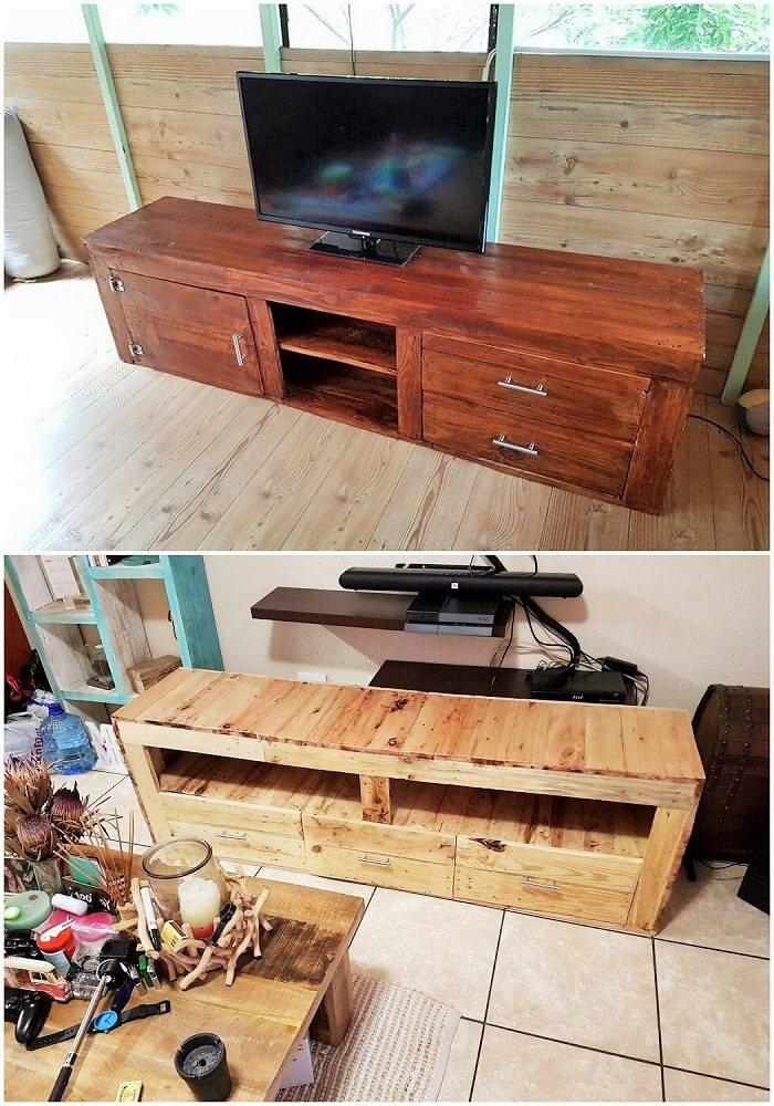 woodenpallets TV banch