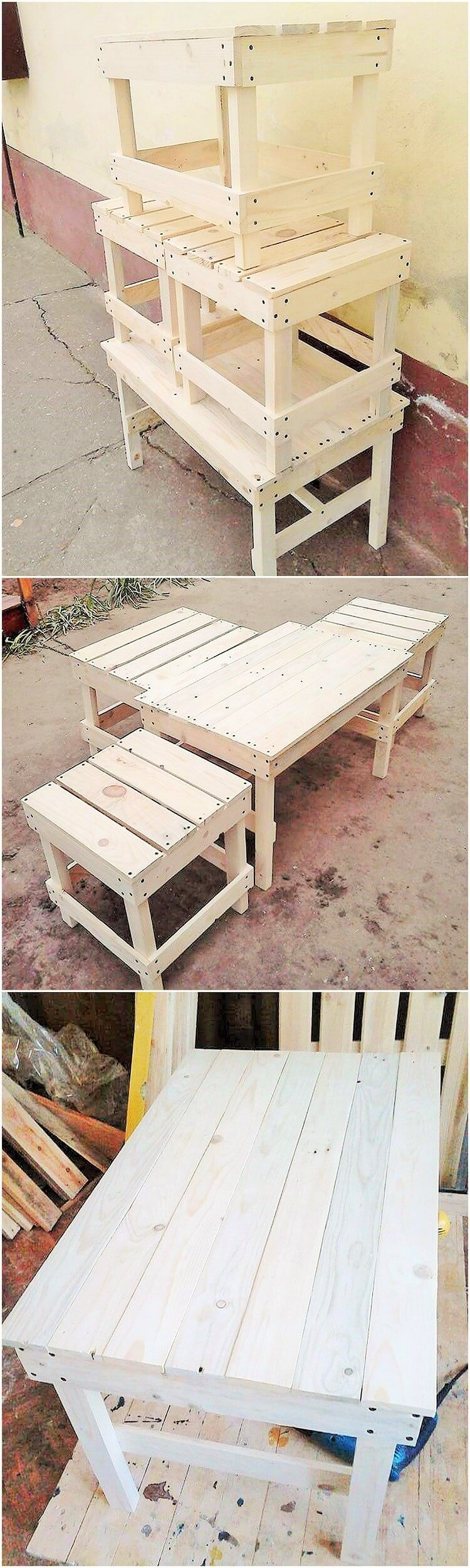 wooden pallet dining table and banch