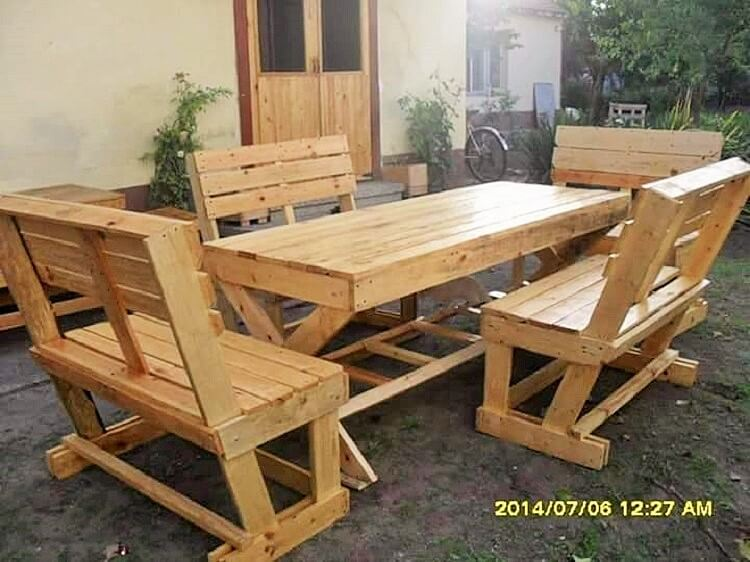 wooden pallet dining table set projects