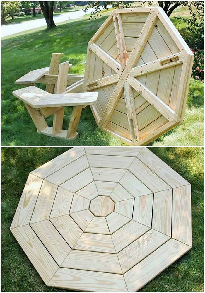 wooden pallet round dining table
