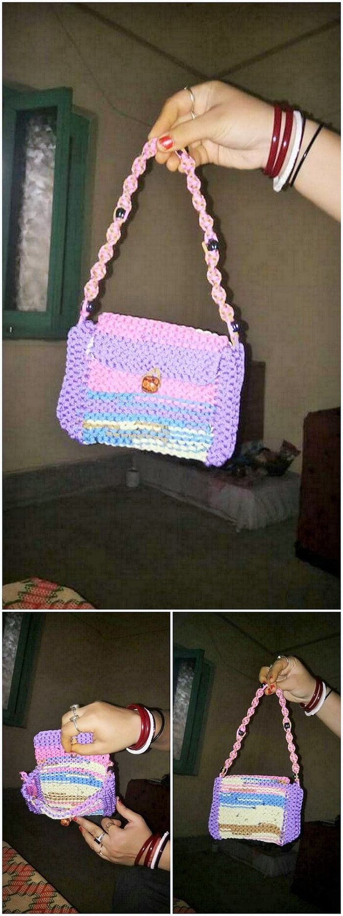 Crochet handbag craft idea
