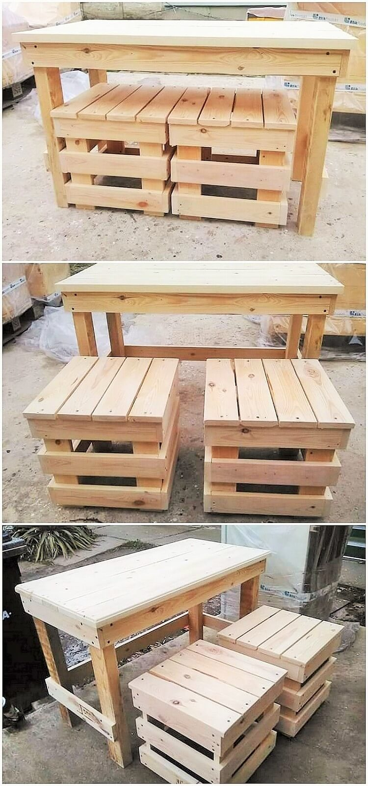 wooden pallet dining table set