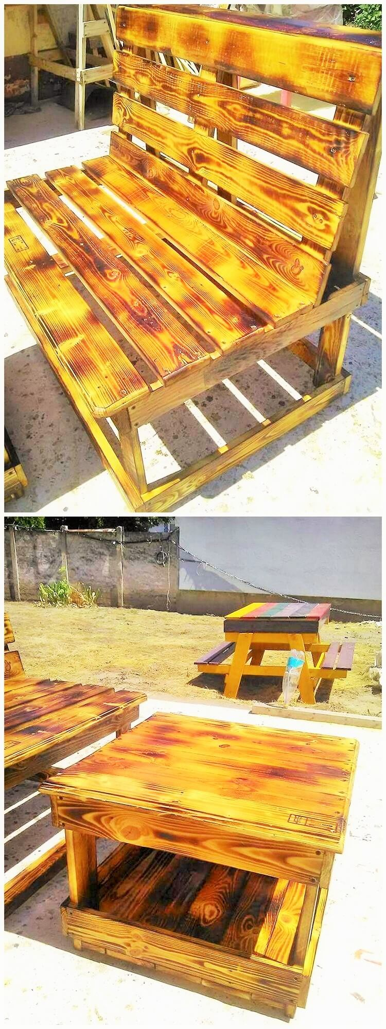 wooden pallets banch and small table
