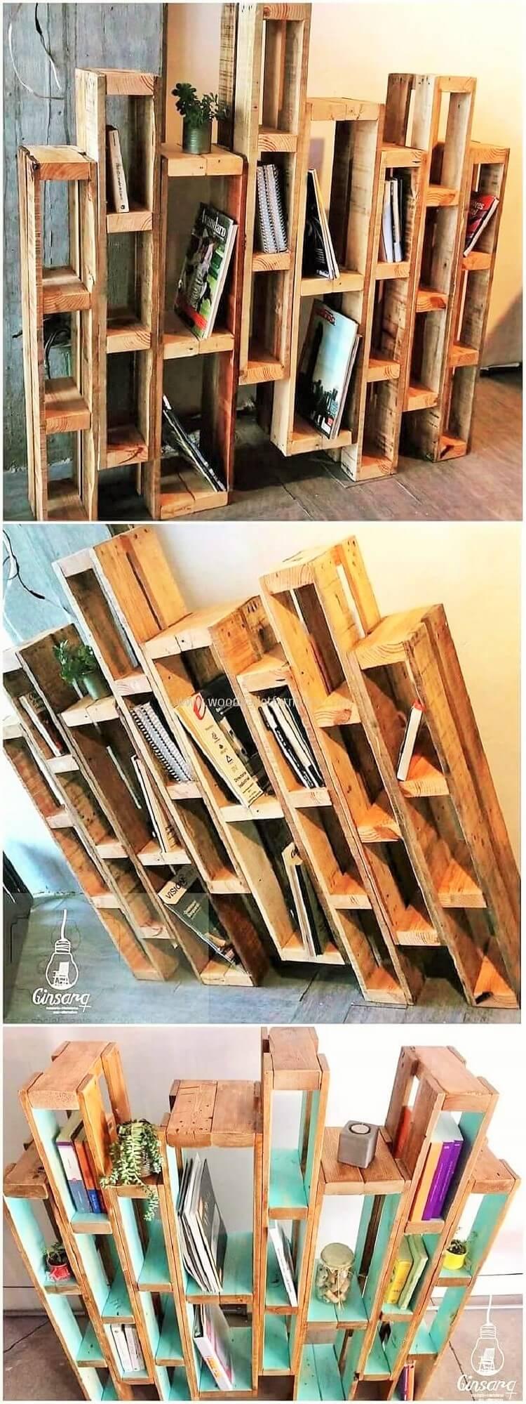 wooden pallets books case