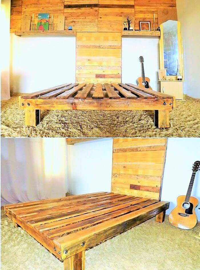 wood-pallet-bed-with-wall-art-headboard