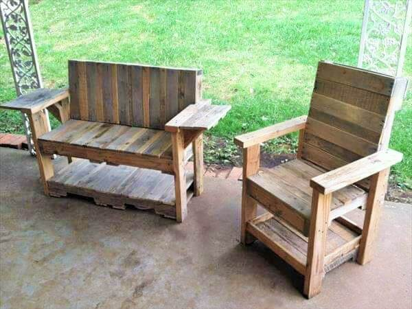 Build a wooden pallets sofa and bench- (21)