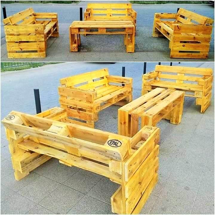 Build a wooden pallets sofa and bench- (23)